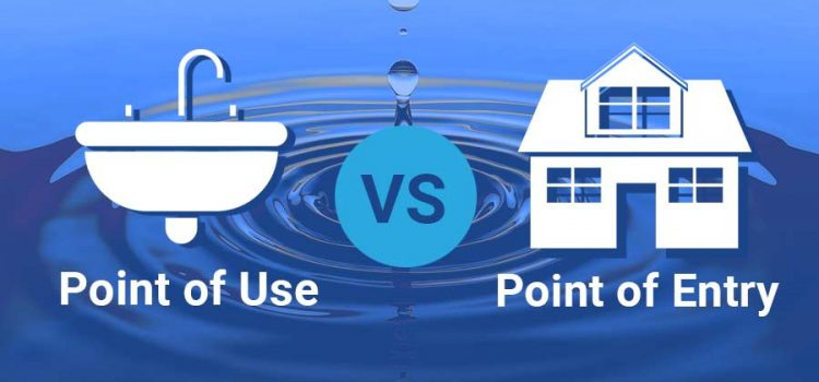 """Graphics of a sink for """"point of use"""" vs. a house for """"point of entry"""""""
